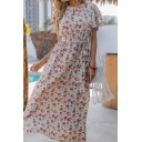 Girls Fancy Beach Bell Sleeve Round Neck Cut Out All Over Floral Printed Bow Tie Waist Long A-Line White Dress