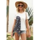 Stylish Womens White Short Sleeve Round Neck Flower Print Patchwork Regular Fit Tee Top