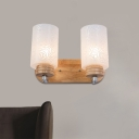 Nordic Pillar Wall Light Fixture Floral Patterned Frosted Glass 2 Lights Bedroom Wall Sconce in Wood