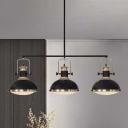 3 Heads Domed Island Light Fixture Industrial Black Finish Metallic Handle Hanging Pendant Lamp