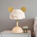 Villus Mouse Head Night Table Light Kids LED Nightstand Lamp in Dark Green/Pink/Light Pink with Dome Marble Base