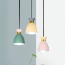 Aluminum Domed Multi Light Pendant Macaron 3 Heads Green-Yellow-Pink Hanging Ceiling Light over Table