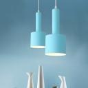Blue Finish 2-Tier Tube Pendant Macaron 1 Head Iron Mini Hanging Ceiling Lamp for Dining Room