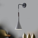Iron Funnel Shape Wall Pendant Light Macaron 1-Head Black/Grey Finish Wall Mount Lamp Fixture