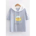 Lovely Girls Short Sleeve Hooded Drawstring Japanese Letter Cartoon Cat Graphic Tape Panel Colorblock Relaxed T Shirt