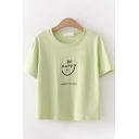 Chic Girls Short Sleeve Round Neck Letter BE HAPPY Printed Relaxed Fit T Shirt