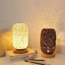 Mini Capsule Bedside Nightstand Lamp Rattan Weaving 1 Light Minimalist Table Light in Beige/Coffee