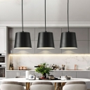Mini Tapered Drum Drop Pendant Simple Iron Single Kitchen Suspension Lighting in Black with Recessed Diffuser