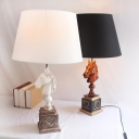 1 Bulb Tapered Drum Table Lamp Country Black/White Fabric Night Stand Light with Horse Base