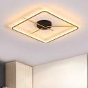 Black and Gold Squared Ring Flush Mount Simple LED Acrylic Flush Lighting in Warm/White Light