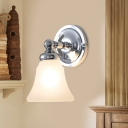 Silver Finish 1 Bulb Wall Mount Light Retro Cream Glass Bell Indoor Wall Sconce Lamp