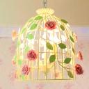 Metal Beige Pendant Chandelier Birdcage 3 Heads Farmhouse Style Korean Suspension Light with Rose Deco