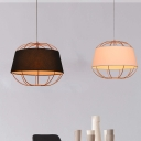1 Head Pumpkin Cage Drop Pendant Rustic Rose Gold Iron Hanging Lamp with Black/White Fabric Shade