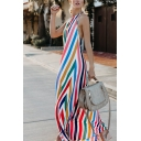 Stylish Holiday Sleeveless Halter Stripe Printed Colorblock Open Back Maxi A-Line Cami Dress in White