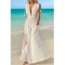 Gorgeous Womens White Sleeveless Deep V-Neck Drawstring Waist Lace Trim Fringe High Cut Maxi A-Line Dress