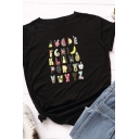 Basic Womens Rolled Short Sleeve Round Neck Mixed Cartoon Printed Fitted T Shirt