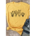 Popular Girls Roll Up Sleeve Crew Neck Cactus Printed Relaxed Fit T-Shirt