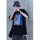 Trendy Abstract Graffiti Pattern Half Sleeves Crew Neck Oversize Tee Top for Boys