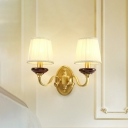 Brass 1/2-Head Wall Mount Light Vintage White Fabric Barrel Wall Lamp Fixture for Living Room