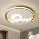 White Sea and Sun Ceiling Flush Modern LED Acrylic Flush Mount Lighting in White/Warm Light for Bedroom