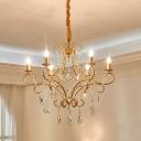 Scrolls Metal Chandelier Pendant Light Vintage 5/6 Bulbs Living Room Suspension Lamp in Gold with Crystal Droplet
