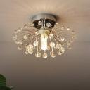 Silver Finish Beaded Semi Mount Lighting Modern Crystal 1 Light Corridor Close to Ceiling Lamp