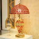 Traditional Domed Night Table Light 1 Light Red Crystal-Encrusted Night Lamp in Gold