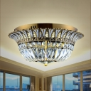 Minimalism Flared Flush Mount Lighting LED Faceted Crystal Ceiling Light Fixture in Gold
