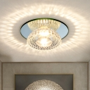 Bowl Clear Crystal Flush Mount Minimalism LED Hallway Flush Light Fixture in Chrome