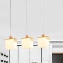 Cube White Glass Multi-Pendant Modernism 3 Heads Wood LED Ceiling Suspension Light