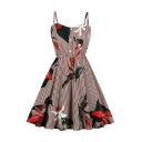 Burgundy Flower Stripe Pattern Button up Pretty Mid Pleated Swing Cami Dress for Girls