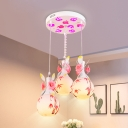 Blown Glass White Cluster Pendant Teardrop 3-Bulb Country Petal Hanging Light Kit with Bamboo Pattern