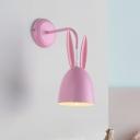 Pink Finish Rabbit Shade Sconce Lighting Macaron 1 Light Metal Wall Mount Lamp Fixture