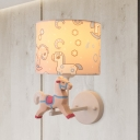 Resin Trojan Horse Shape Wall Light Fixture Cartoon 1 Light LED Sconce in Pink/Blue with Drum Fabric Shade