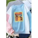 Womens Pretty Lovely Long Sleeve Crew Neck Lazy Egg Printed Color Block Relaxed Pullover Sweatshirt