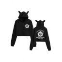 Cool Girls Long Sleeve Pentagram Letter WINCHESTERBTOS Graphic Relaxed Fit Crop Ears Hoodie