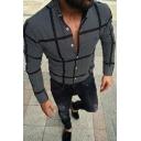 Cool Mens Black Long Sleeve Button-Down Collar Plaid Pattern Regular Fit Shirt Top