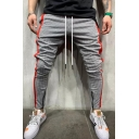 Mens Stylish Drawstring Waist Stripe Printed Contrasted Zipper Detail Ankle Length Relaxed Fit Pencil Pants