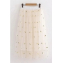 Pretty Girls Beige Elastic Waist All Over Pineapple Patched Mesh Long Pleated A-Line Skirt