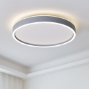 Grey Circular LED Flushmount Lighting Contemporary Acrylic Flush Mount Ceiling Fixture in Warm/White Light, 16