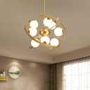 Modern Orb Pendant Chandelier White Frosted Glass 9-Light Living Room LED Star Hanging Light in Gold