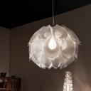 White/Blue Floral Down Lighting Pendant Post Modern Single Head Acrylic Hanging Lamp Kit for Bedroom