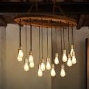 Vintage Oval Island Lamp 15 Heads Wood Pendant Light Kit with Exposed Bulb Design