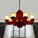 Brown Cylinder Hanging Chandelier Country Yellow Dimple Glass 8 Bulbs Living Room Ceiling Fixture with Wood Arm