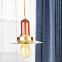 Metal Flat Hanging Light Kit Industrial 1-Bulb Clothing Store Light Fixture in Gold