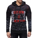 Chic Street Mens Long Sleeve Drawstring All Over Letter Printed Fitted Hoodie