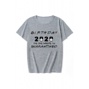 Leisure Womens Rolled Short Sleeve Crew Neck Letter BIRTHDAY Print Slim Fit T-Shirt
