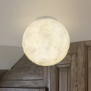 Moon Glass Globe Flushmount Light Modernist 1 Head White Flush Mounted Lamp for Balcony