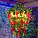 Red Round Chandelier Pendant Light Vintage Iron 6 Lights Restaurant Drop Lamp with Fruit Decor