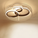 3 Overlapping Rings Flushmount Ceiling Fixture Modernist Acrylic Black/White LED Flush Light with Drum Cage for Bedroom in Warm/White Light, 16
